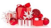Big and small gift boxes, the Christmas toys, snowflakes — Foto Stock