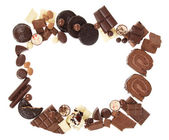 Composition of chocolate sweets, isolated on white — Stok fotoğraf