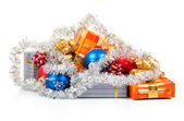 New Year's gifts, balls and christmas decoration isolated on white — Стоковое фото