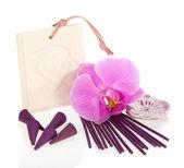 Conos aromático y palos, flor de las orquídeas aisladas en blanco — Foto de Stock