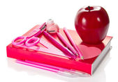 The book, triangle, handles, pencil, scissors, a puncher and red apple — Foto Stock