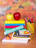 Books, exercise books, a notepad, handles, pencils on a table — Stock Photo