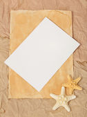 Old paper, two starfishes and blank card — Stock Photo