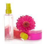 Means for a peeling, lotion, a face cream and flower of Gerbera, isolated on white — Stock Photo