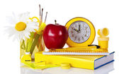 Set of school deliveries, big red apple, hours and the book — Stock Photo