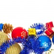 Colorful christmas decoration, tinsel isolated on white, background — Stock Photo