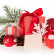 Set of Christmas gifts and Christmas decorations — Stock Photo