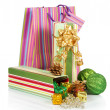 Gift box with christmas tinsel, balls and package isolated on white — Foto de Stock