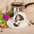 Thick coffee in a cup, the Turk, coffee grain, cinnamon and flowers on a sackcloth — Stock Photo #32301823