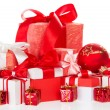 Big set of bright Christmas gifts and the New Year's toys — Stockfoto
