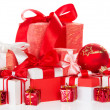 Big set of bright Christmas gifts and the New Year's toys — Stock Photo