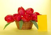 Buquê de tulipas vermelhas em uma cesta e um cartão vazio para o texto, sobre um fundo amarelo — Fotografia Stock