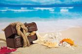 Hrudník, mušlí, provaz na pobřeží — Stock fotografie
