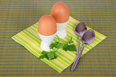 Striped napkin, boiled egg and spoon on a green background — Stock Photo