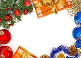 Jasný rámec vánoční izolované na bílém pozadí — Stock fotografie