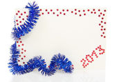 Bright card on New Year 2013 with blue tinsel isolated on white — Stock Photo