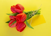 Bouquet of tulips with a rope and the empty card for the text on a yellow background — Stock Photo