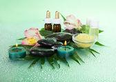 Florecen de sal, velas aceite aromático, piedras, sobre una hoja húmeda, sobre un fondo verde — Foto de Stock