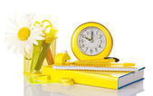 Set of school deliveries, hours, writing-book and the book isolated on white — Stock Photo