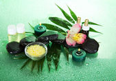 Candles and aroma oil, salt, stones and a flower on a leaf howea, on a green background — Stock Photo