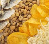 Patatas fritas, calamares, pistachos y pescado salado a la cerveza — Foto de Stock