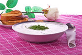 Cold vegetable soup with fennel, cloth, toasts, rose — Stock Photo