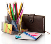 Office accessories in a support — Stock Photo