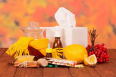 Various cold medicines on a table — Foto Stock
