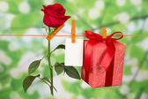 The rose, card and gift hang on a linen rope — Стоковое фото