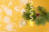 Branch of a Christmas fir-tree with ornament — Stock Photo