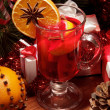 Glass of mulled wine with orange — Stock Photo