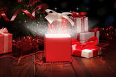 Сhristmas box and Christmas tinsel — Foto Stock