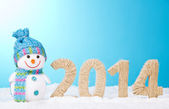 Snowman near and figures 2014 — Foto Stock