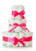Cake of diapers decorated red ribbons — Stok fotoğraf