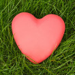 Red heart lying on green grass — Stock Photo