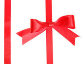 Two red ribbons with bow — Stock Photo