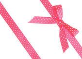 Dvě růžové stužky s lukem — Stock fotografie