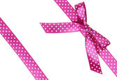 Two pink ribbons with bow — Stock Photo