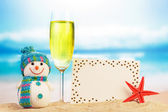 Snowman, cocktail and greeting card — Stock Photo
