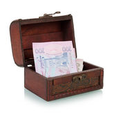 Chest with Ukrainian banknotes — Stock Photo