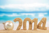 New year sign and christmas ball — Stockfoto