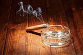 Smoking cigar in an ashtray — Stok fotoğraf