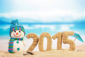 New year 2015 sign with snowman — Stock Photo