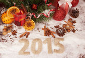 New year 2015 with snow — Stock Photo