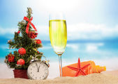 Champagne with Christmas decoration — Stock Photo