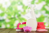 Cleaning products and pink flower — Stock Photo