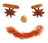Smile face made from spices — Stock Photo