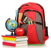 School Backpack with school supplies — Stock Photo