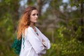 Krásná dívka v národním kroji — Stock fotografie
