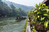 Long-tail boat in River Kwai — Stock Photo